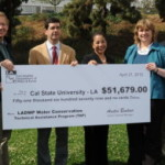 Los Angeles Department of Water and Power (LADWP) and Leah Murakami present a rebate check for $51,679 to California State University Los Angeles (CSULA) for proven water savings resulting from the installation of wireless water management technology that adjusts irrigation controllers in accordance with changing weather conditions— a water saving measure supported by LADWP's Technical Assistance Program (TAP.)